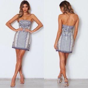 New White Fox Jasmine Mini Dress Strapless